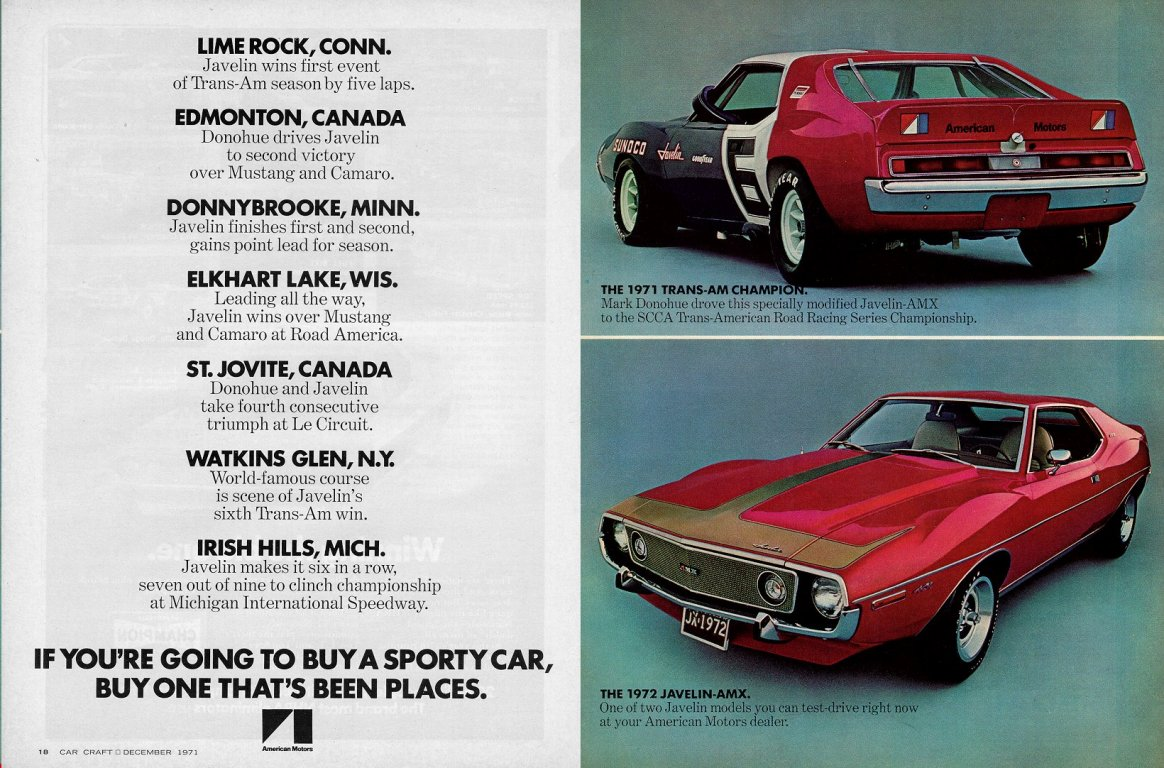 Javelin Amc Articles Ads 68 Amx Wiring Diagram 1972 401 Featuring The 1971 Penske Donohue Transam Advertisement